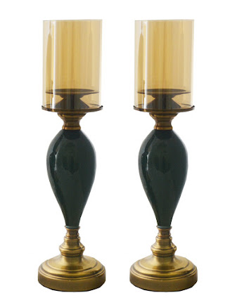 "Pair of 18"" Candle Holder With Glass"