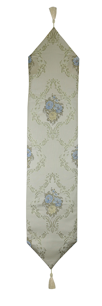 60X13 TABLE RUNNER, CREAM W/ BLUE FLOWERS