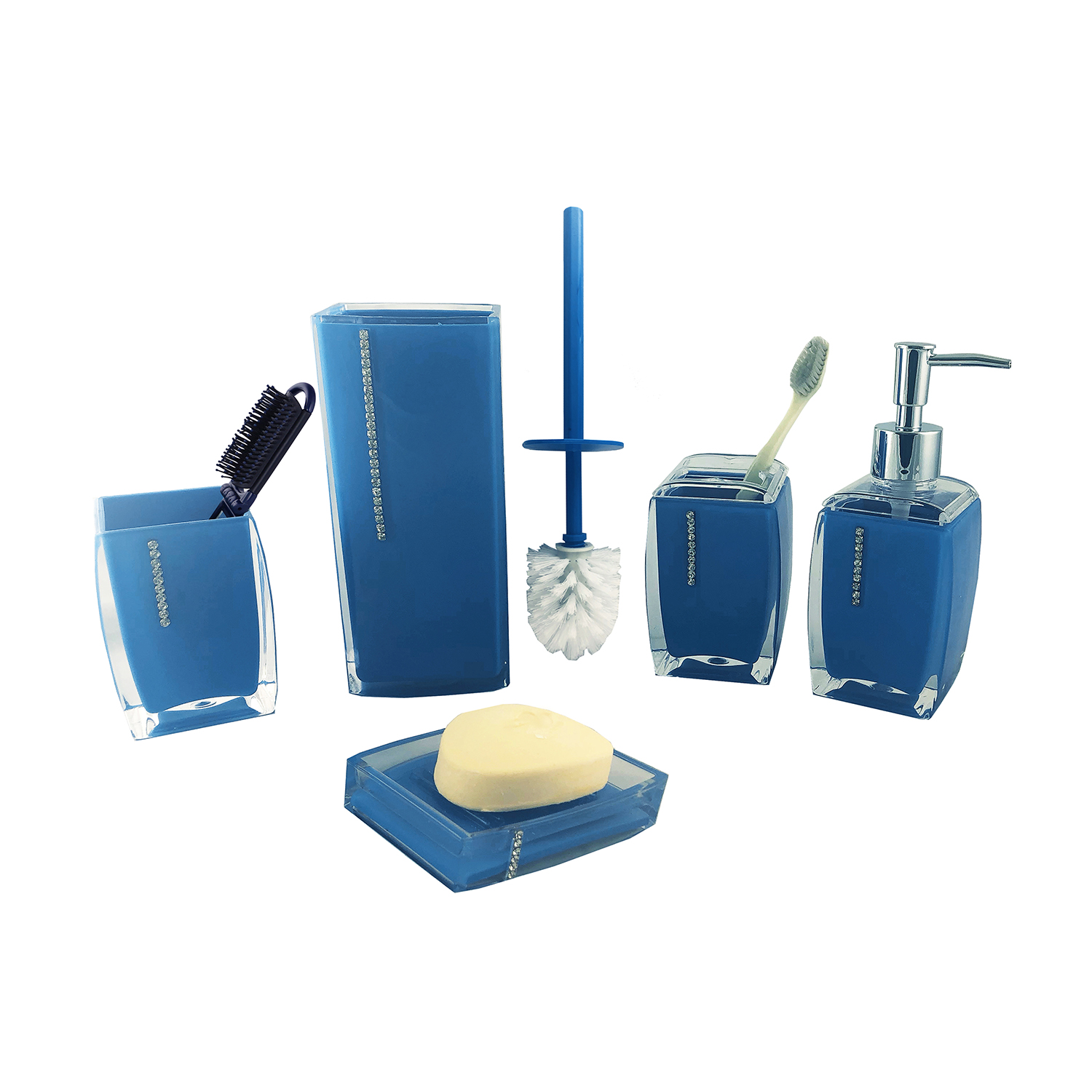 6-PC BATHROOM SET, BLUE W/ CRYSTALS