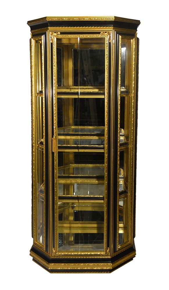 28X18X66 BLACK & GOLD CABINET