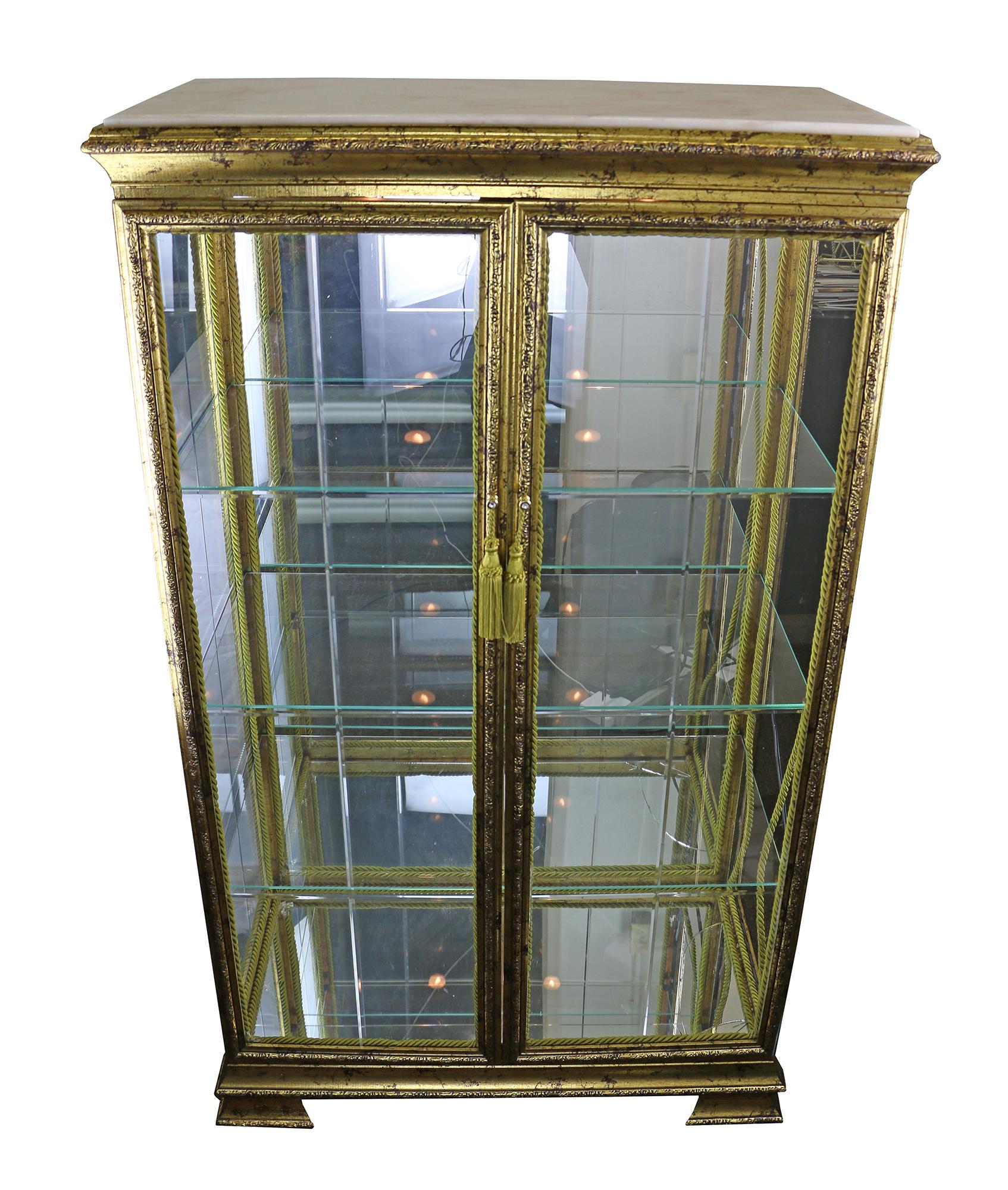 52X30X15 ANTIQUE GOLD DBL DOOR CURIO W/ MARBLE