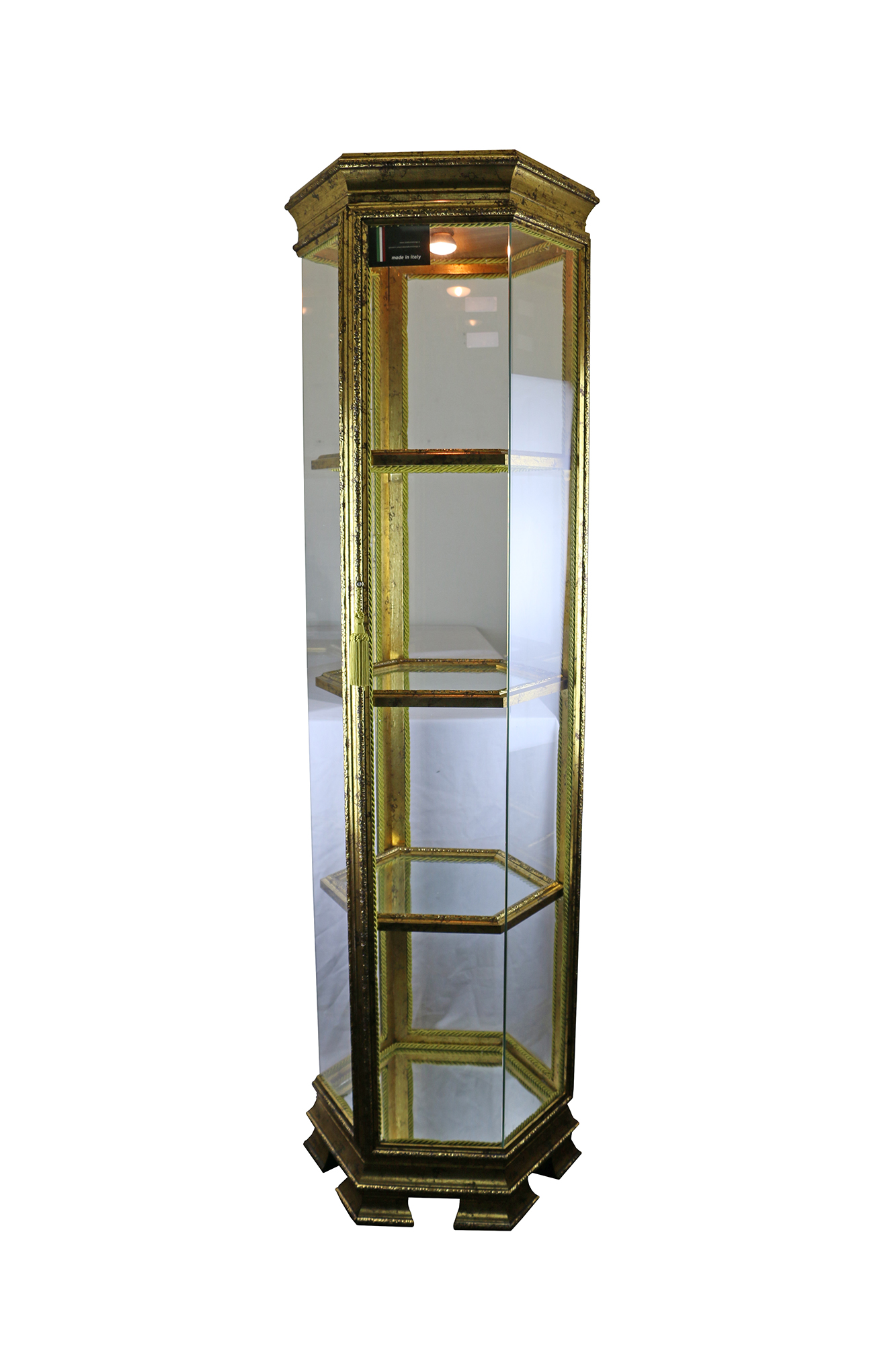 64X20X20 HEXAGONAL ANTIQUE GOLD CURIO