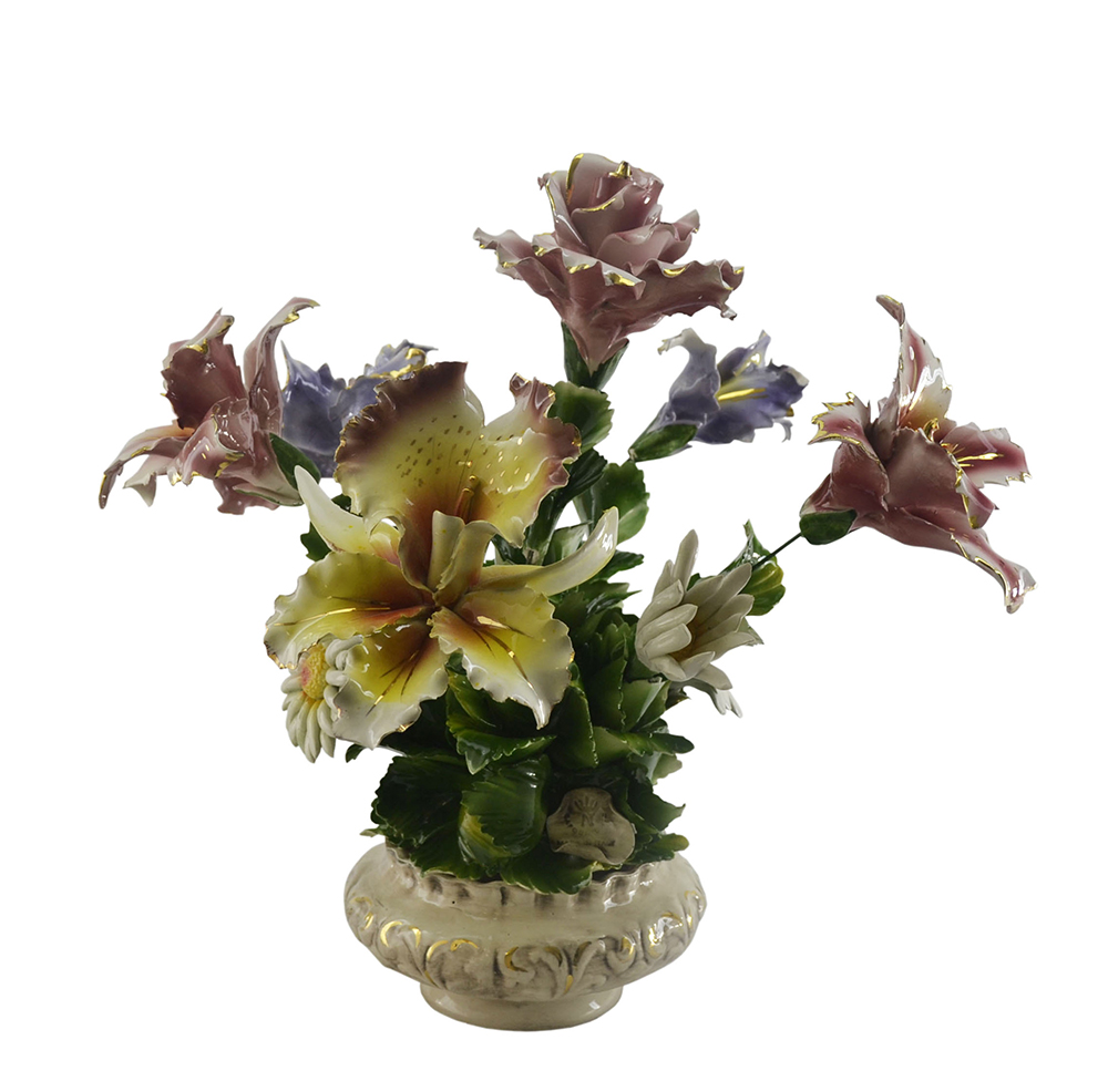 "17"" TALL 9-FLOWER BASKET"