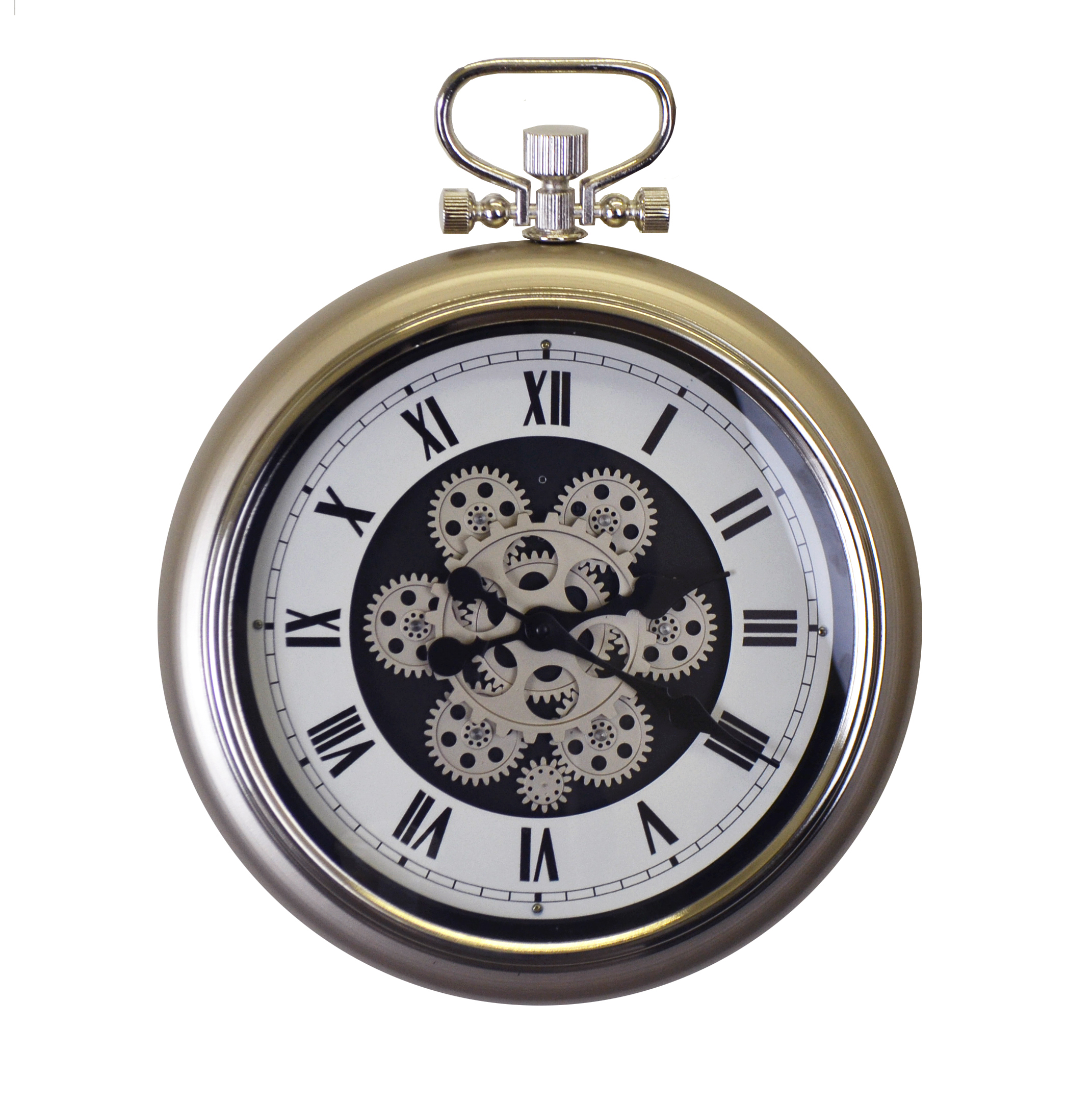 Moving Gears Champagne Color Metal Wall Clock Pocket Style w/Roman Numerals Battery Operated Wall Decor for Home Or Office