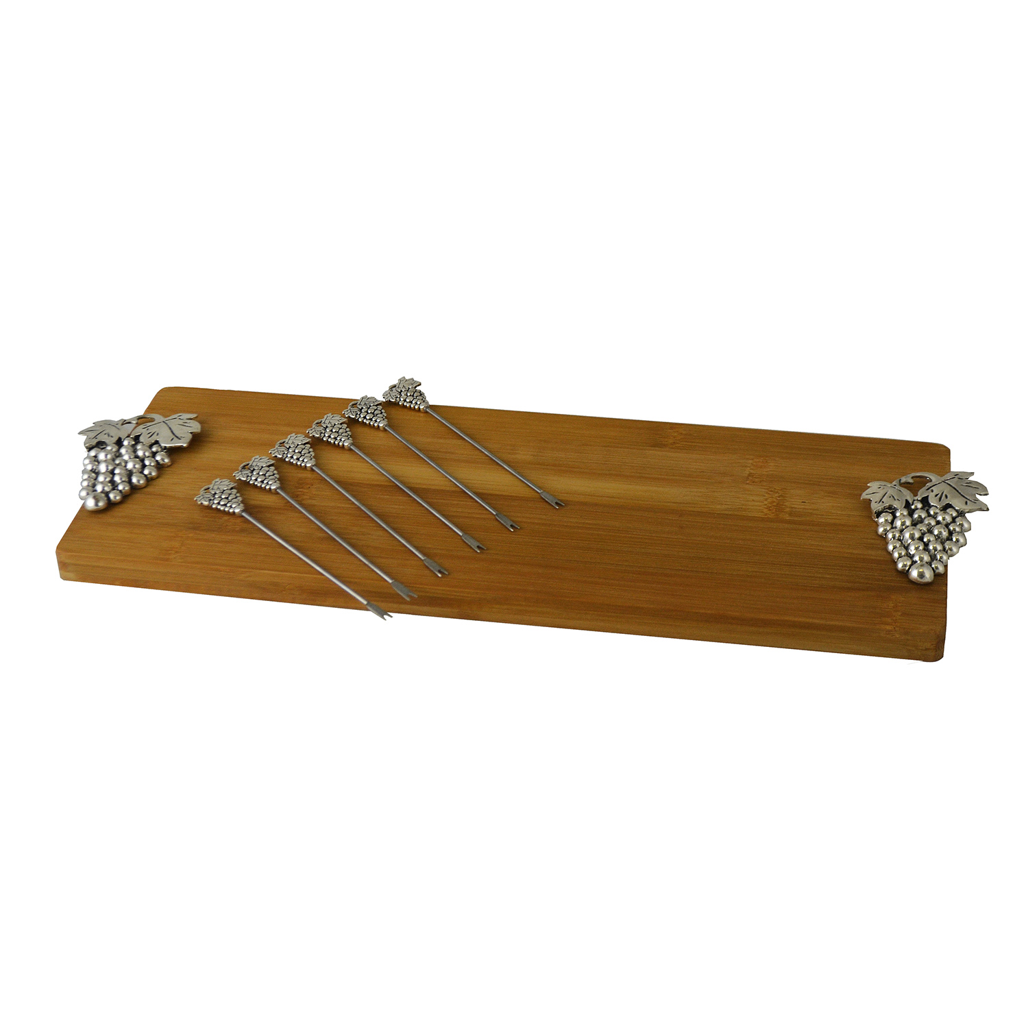 CHEESE BOARD W/ 6 PICKS, SILVER GRAPES