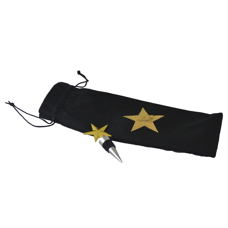 WINE BAG & STOPPER SET, GOLDEN STAR