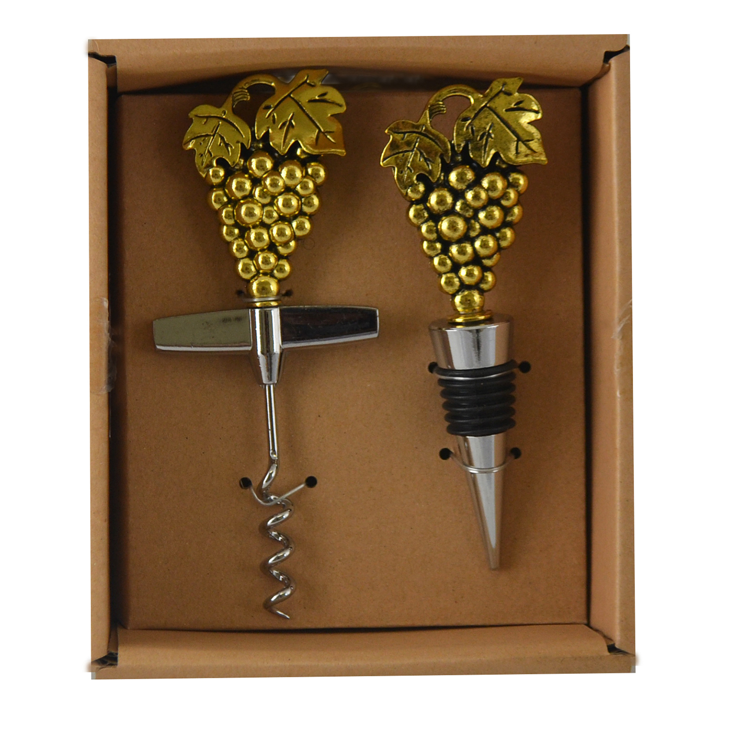 CORK OPENER & STOPPER SET, GRAPES