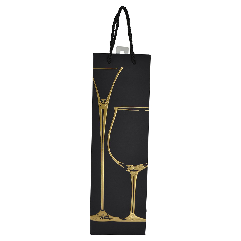 "14"" WINE BAG, GOLD CHAMPAGNE & WINE GLASS"