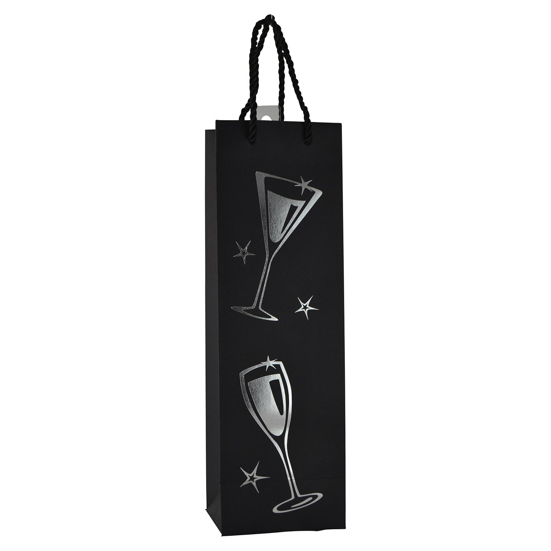 "14"" WINE BAG, STARS & CHAMPAGNE GLASS"