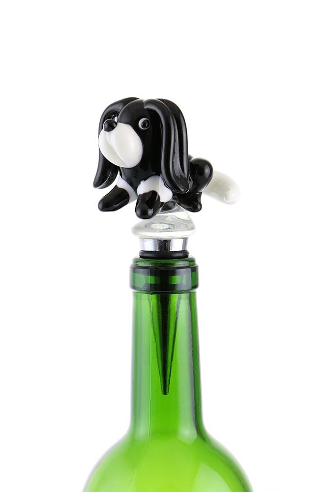 """5"""" BOTTLE STOPPER, BLACK & WHITE DOG"""