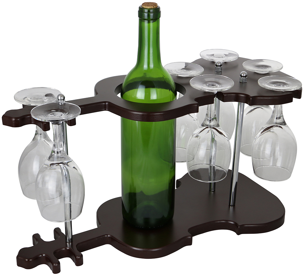 9X16X8 GUITAR SHAPED WINE BOTTLE & 7 GLASS HOLDER
