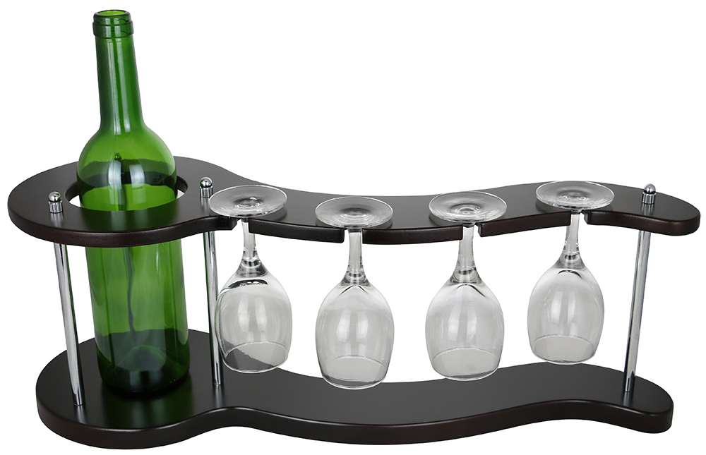 8X20X7 WINE BOTTLE & 4 GLASS HOLDER