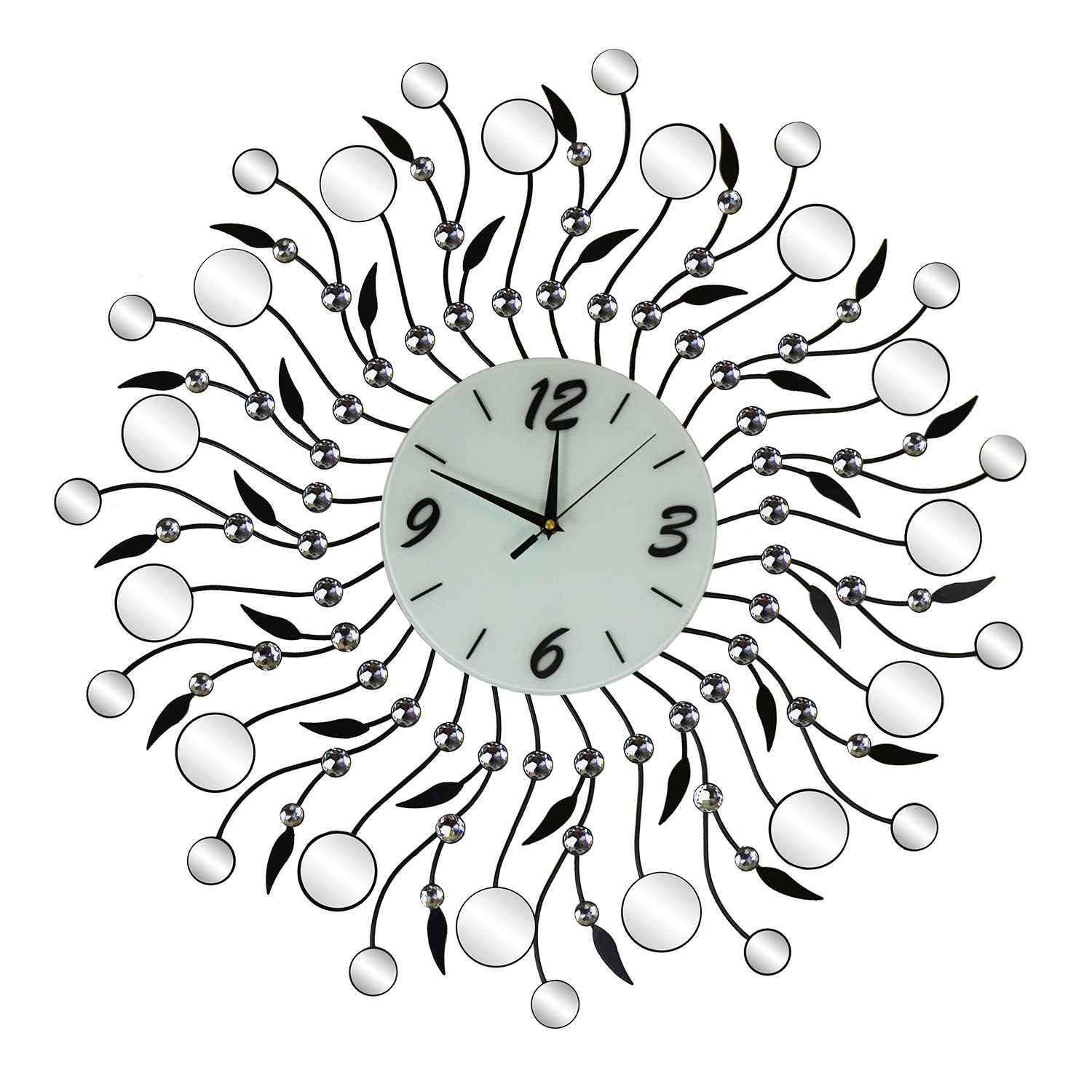 "28"" ROUND WALL CLOCK W/ ROUND MIRROR PCS."