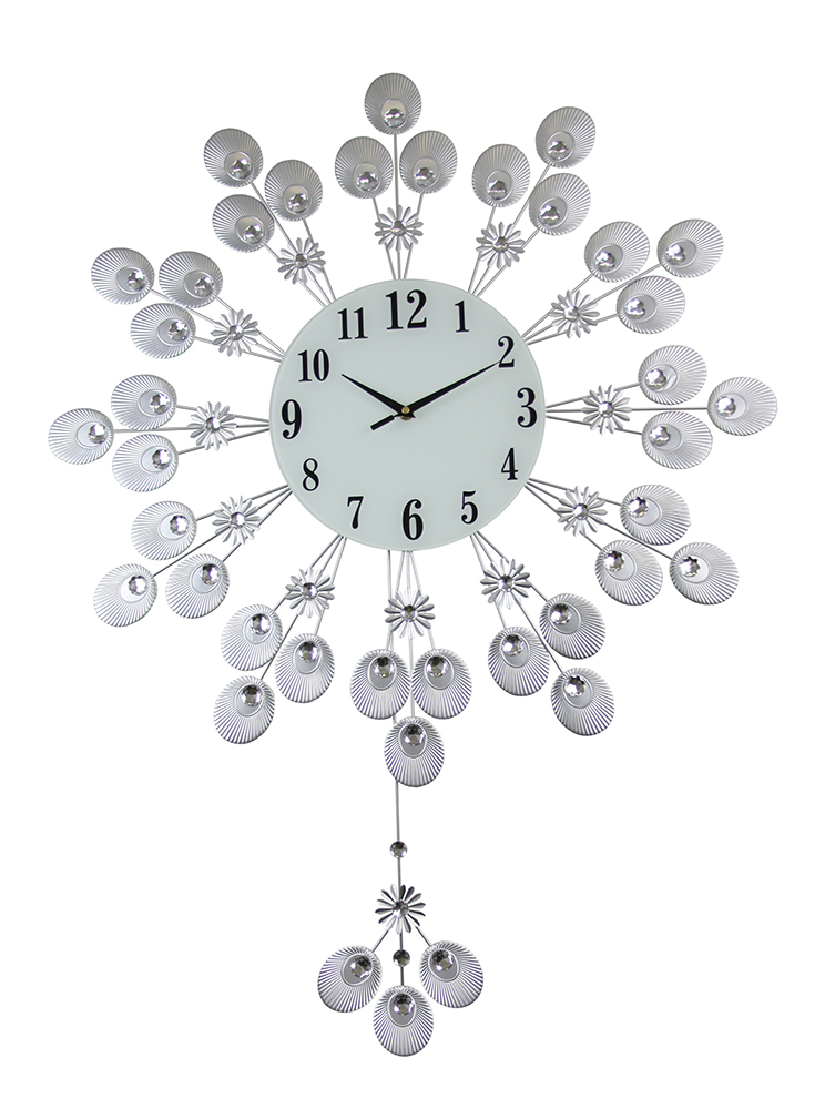 37X27 ROUND WALL CLOCK, SILVER PEACOCK FEATHER STYLE W/ PENDULUM