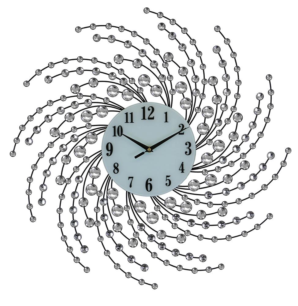 """24"""" ROUND WALL CLOCK, SILVER SPIRALS"""