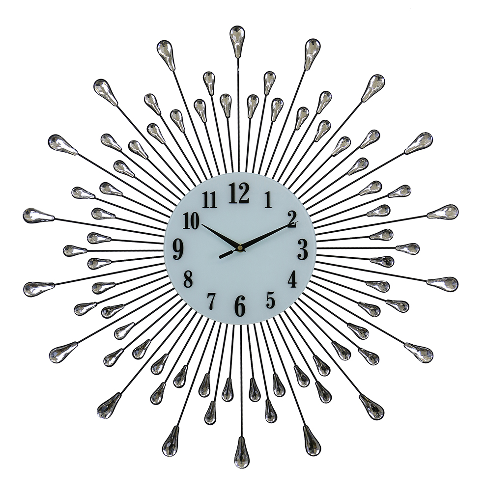 "28"" ROUND WALL CLOCK, SILVER DROPLETS W/ CRYSTAL"