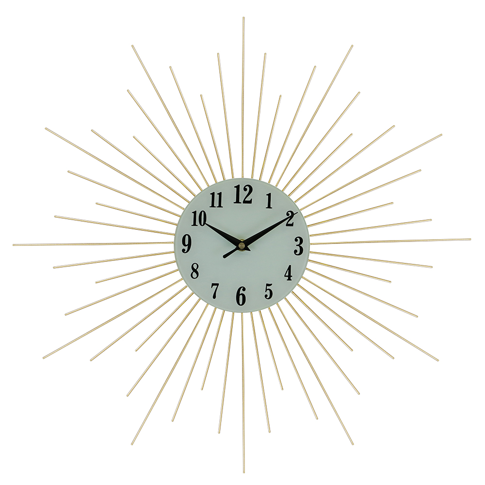 "20"" ROUND WALL CLOCK, GOLD SPIKES"