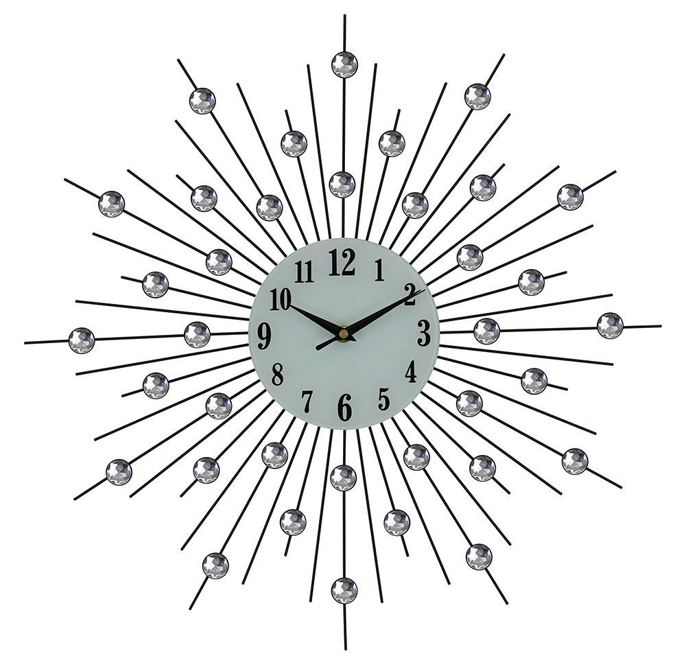 "20"" ROUND WALL CLOCK, SILVER SPIKES WITH CRYSTALS"