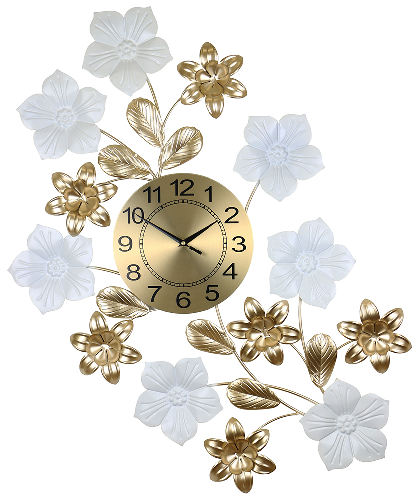 34X26 GOLD & WHITE WALL CLOCK WITH FLOWERS