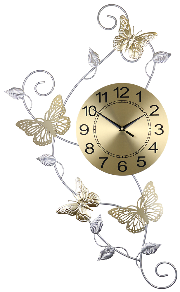 30X17 WALL CLOCK WITH BUTTERFLIES