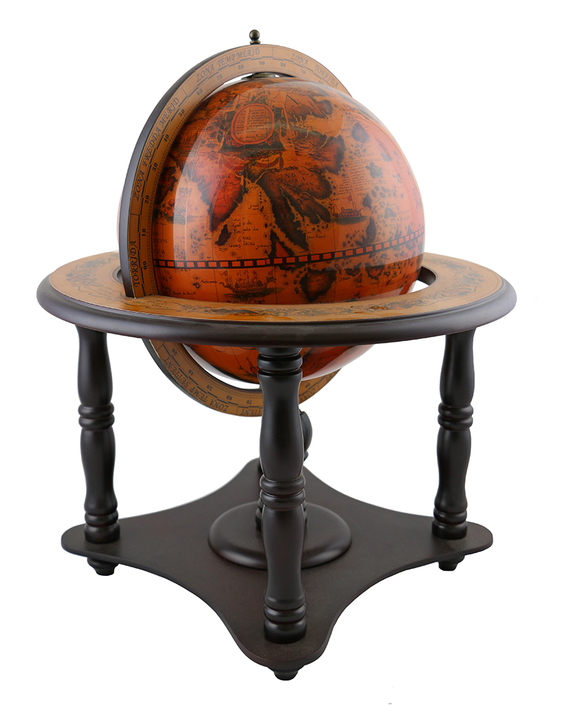 WOODEN DECORATIVE GEOGRAPHIC TABLE TOP TEACHERS GLOBE WITH FOUR LEGS