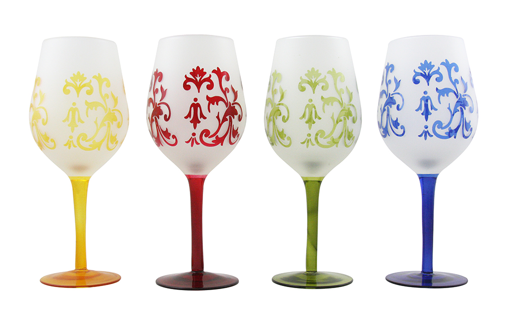 "4PC OF 8.5"" MULTICOLOR WINE"