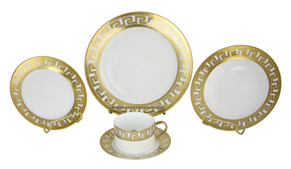 40-PC DINNERWARE SET, GREEK KEY