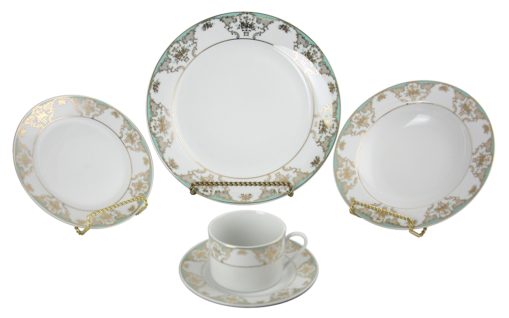40-PC DINNERWARE SET, TURQUOISE & GOLD
