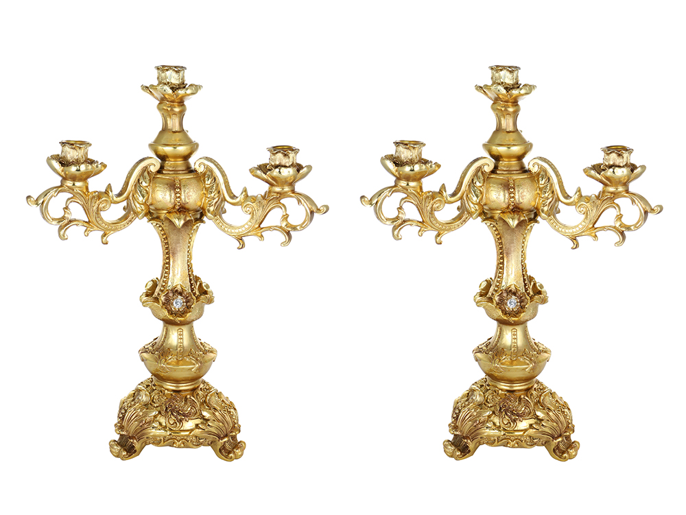PAIR OF 18 X 12 GOLD CANDLE HOLDERS