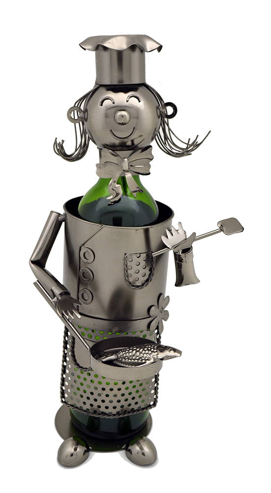 BOTTLE HOLDER, LADY CHEF W/ PAN