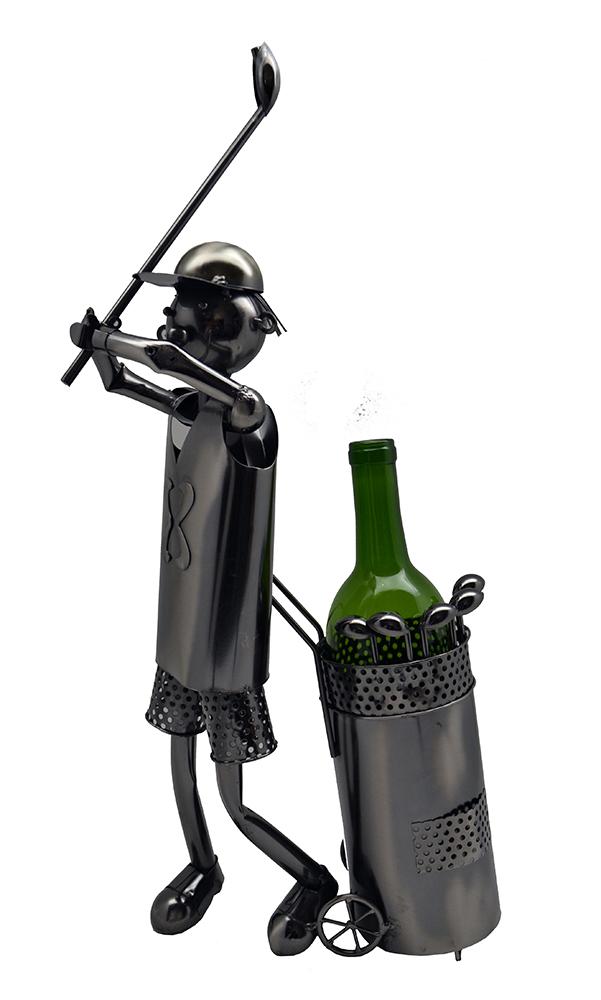 "WINE BOTTLE HOLDER, 20"" GOLFER"