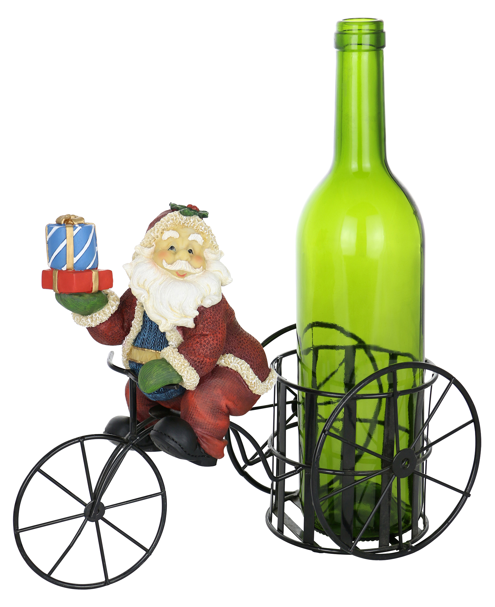11X9 SANTA CLAUS ON TRICYCLE BOTTLE HOLDER