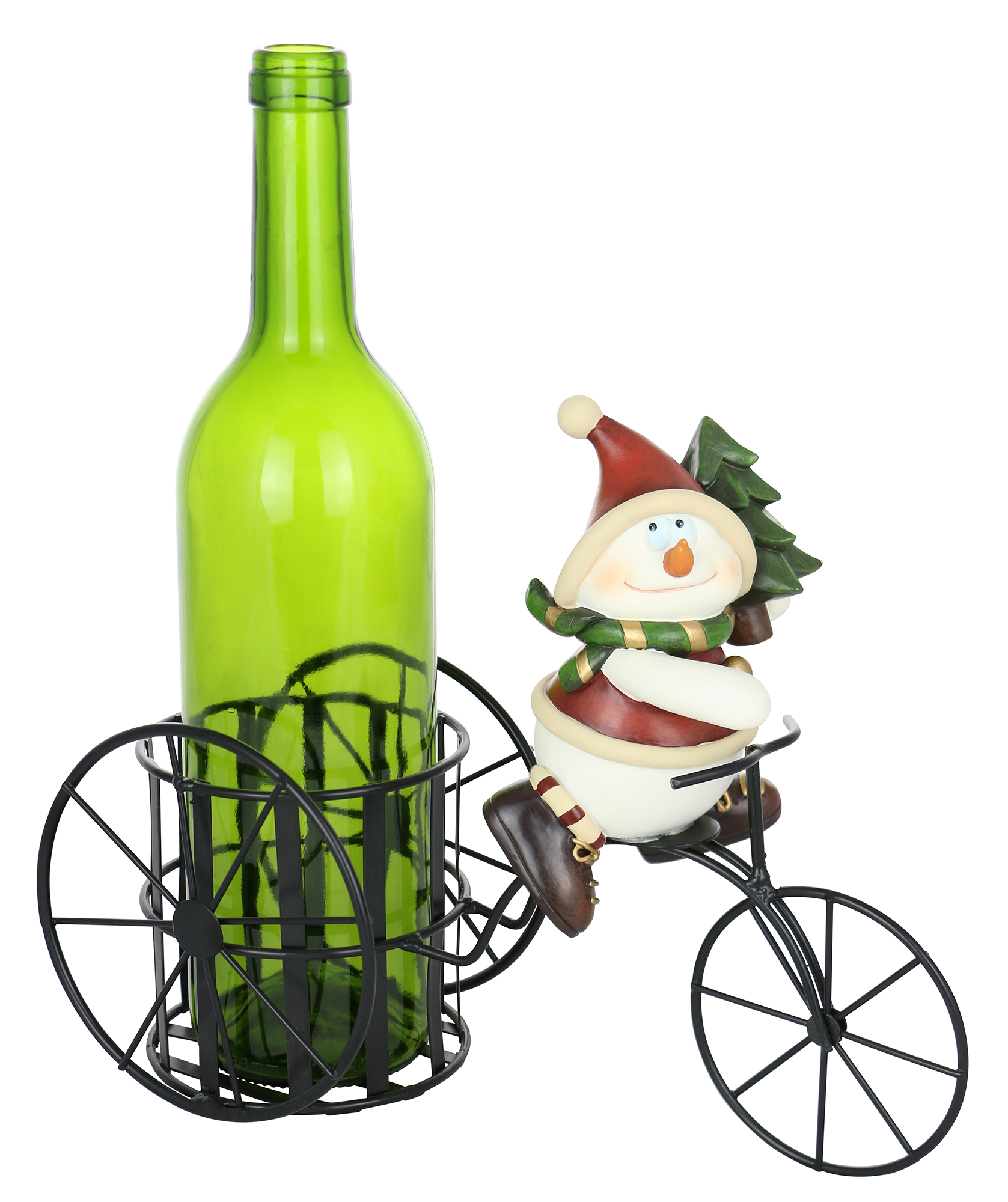 11X9 SNOWMAN ON TRICYCLE BOTTLE HOLDER
