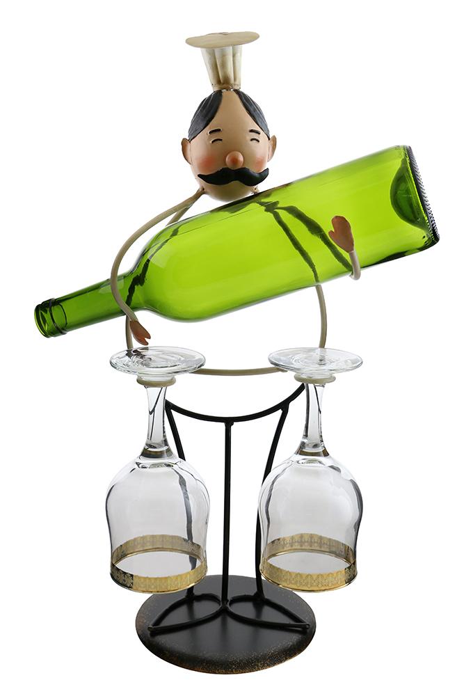 """19"""" CHEF HOLDING BOTTLE & GLASSES"""