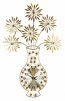 37X24 GOLD VASE & FLWR WALL CLOCK