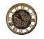 Steampunk Style Gold & Black Metal Wall Clock Moving Gears w/Roman Numerals