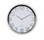 Silver Round Wall Clock Classic Decor For Home Or Office Battery Operated