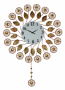 37X26 ROUND WALL CLOCK, COPPER FLOWERS & PENDULUM