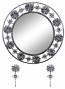 """24"""" ROUND WALL MIRROR W/ KEY CHAIN HOLDERS, SILVER & BLK FLORAL"""