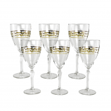 6-PC SET OF WINE WITH FLORAL DESIGN