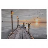 24X16 LIGHT UP SUNSET & BIRDS