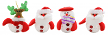 "4PC SET OF 5"" XMAS TREE ORNAMENT, 2 ST CLAUS, 1 SNOWMAN, 1 RUDOLPH"