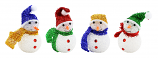 "4PC SET OF 6"" XMAS TREE ORNAMENT, ASSORTED SNOWMEN"