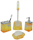 5-PC BATHROOM SET, YELLOW PETALS AND ORANGE PEARLS
