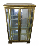 52X30X15 ANTIQUE GOLD DBL DOOR CURIO W/ MARBLE