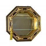 15X15X4.5 BLK & GOLD OCTAGONAL WALL CURIO