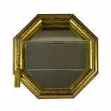 15X15X4.5 ANT. GOLD OCTAGONAL WALL CURIO