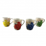 "4-PC SET OF 4"" FLORAL MUGS"