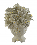 "15"" TALL ROUND FLWR BASKET W/ WHITE ROSES"
