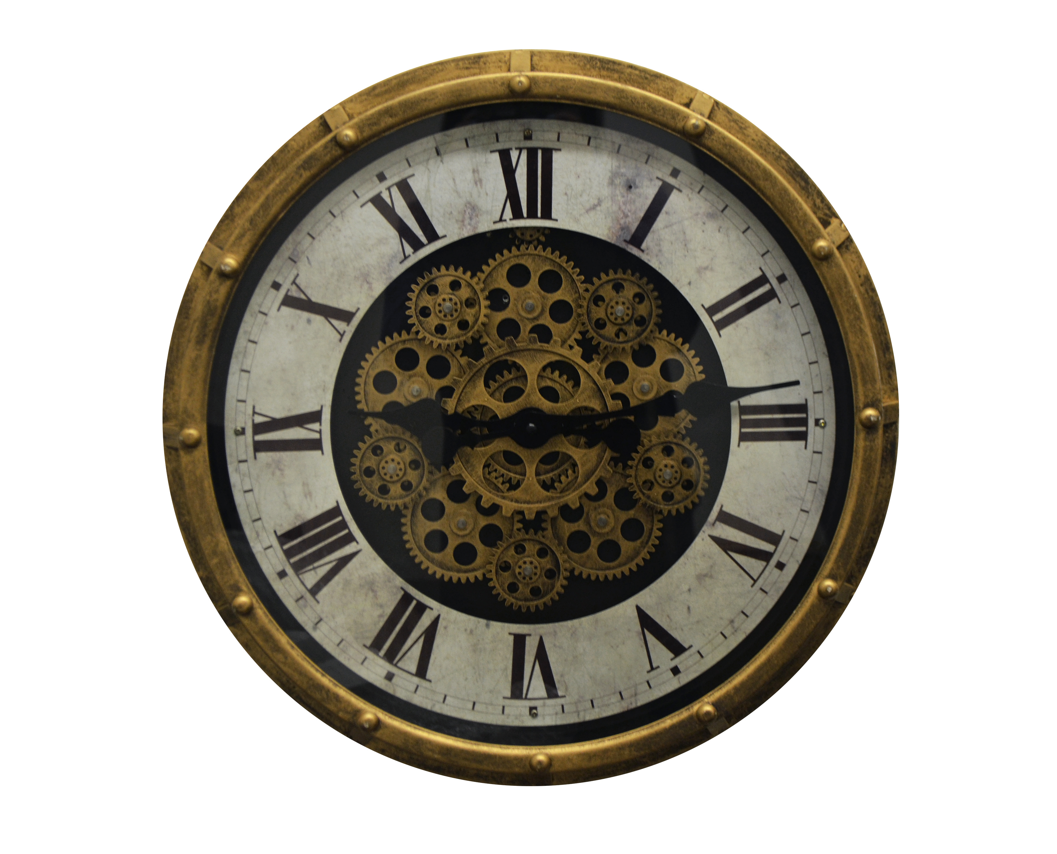 Vintage Steampunk Style Gold & Black Metal Wall Clock Moving Gears & Marble Texture Clock Face
